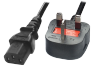 IEC C13 UK Mains Power Cord, 1.8m (Type G)