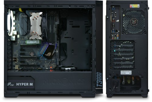 "Side (side panel removed) and rear view of the AMD Gamer. Shown with Gelid Tranquillo CPU cooler and 2.5"" HDD, but without graphics card"